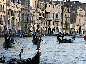 Gondolas photo Grand Canal Venice